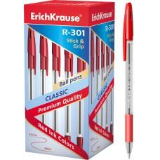 Ручка шариковая ErichKrause. R-301 Classic Stick&Grip 1.0. Красная