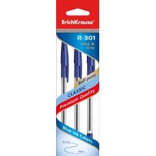 НАБОР шариковых ручек. ErichKrause. R-301 Classic Stick&Grip 1.0. Синяя. 3 штуки