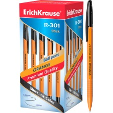 Ручка шариковая ErichKrause. R-301 Orange Stick 0.7. Черная