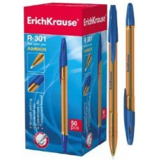 Ручка шариковая ErichKrause. R-301 Amber Stick 0.7. Синяя