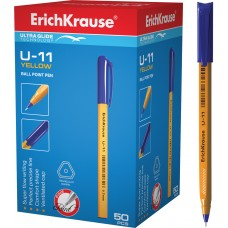 Ручка шариковая ErichKrause. U-11 Yellow, Ultra Glide Technology 0.7. Синяя