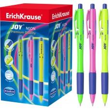 Ручка шариковая автоматическая ErichKrause. JOY. Neon, Ultra Glide Technology 0,7. Синяя