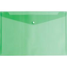 Папка конверт на кнопке пластиковая ErichKrause. A4, полупрозрачная, зеленый