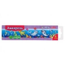 Краски Акварель Hatber-Дельфины, медовые полусухие 6 цветов