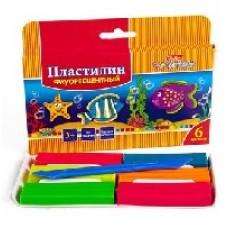 Пластилин Восковой Hatber - Морская семейка, флуоресцентный 6 цветов