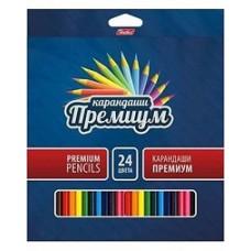 Карандаши цветные Hatber 24 цвета. Премиум. Супермягкий стержень