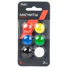 Магниты для магнитно-маркерных досок. 2см. 6 штук. Hatber. Цветные