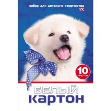 Белый картон. HATBER. А4. 10 листов. Белый щенок
