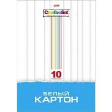 Белый картон. HATBER. А4. 10 листов. Creative Set