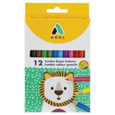 Цветные карандаши Adel Jumbo. Набор. В картонной коробке. 12 цветов