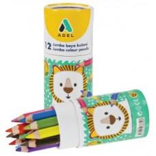 Цветные карандаши Adel Jumbo (укороченные). Набор. В алюминиевой тубе. 12 цветов