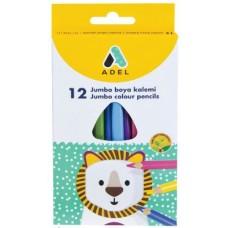 Цветные карандаши Adel Jumbo. Трехгранные. В картонной коробке. 12 цветов