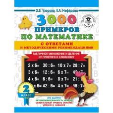 3000 примеров по математике. 2 класс. Табличное умножение от простого к сложному. С ответами и методическими рекомендациями