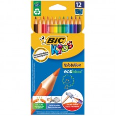 Карандаши цветные пластиковые BIC. Evolution 93. 12 цветов. Заточеный