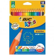 Карандаши цветные пластиковые BIC. Evolution 93. 18 цветов. Заточеный