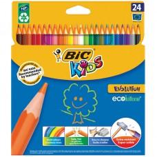 Карандаши цветные пластиковые BIC. Evolution 93. 24 цветоа. Заточеный