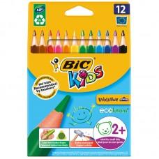 Карандаши цветные пластиковые BIC. Evolution Triangle. 12 цветов. Трехгранный. Утолщеный. Заточеный