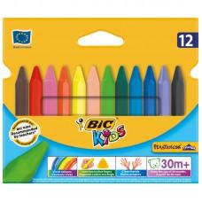 Мелки пластиковые. BIC. Plastidecor Triangle. 12 цветов. Трехгранные