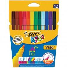 Фломастеры BIC. Visa 880. 12 цветов. Смываемые