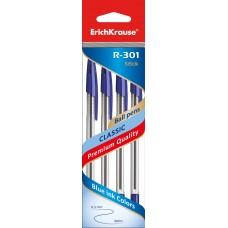 НАБОР шариковых ручек. ErichKrause. R-301 Classic Stick 1.0. Синяя. 4 штуки