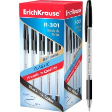Ручка шариковая ErichKrause. R-301 Classic Stick&Grip 1.0. Черная