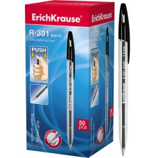 Ручка шариковая автоматическая ErichKrause. R-301 Matic 1.0. Черная