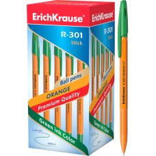 Ручка шариковая ErichKrause. R-301 Orange Stick 0.7. Зеленая