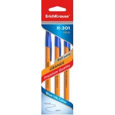 НАБОР шариковых ручек. ErichKrause. R-301 Orange Stick 0.7. Синяя. 3 штуки
