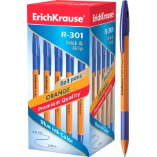Ручка шариковая ErichKrause. R-301 Orange Stick&Grip 0.7.Синяя