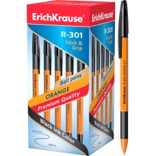 Ручка шариковая ErichKrause. R-301 Orange Stick&Grip 0.7. Черная