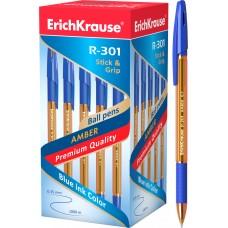 Ручка шариковая ErichKrause. R-301 Amber Stick&Grip 0.7. Синяя