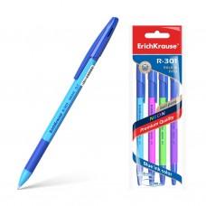 Ручка шариковая. ErichKrause. R-301 Neon Stick&Grip. 0,7. Цвет чернил синий. В пакете по 4 штуки