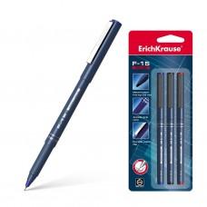 Ручка капиллярная. ErichKrause. F-15. Цвет чернил: синий, черный, красный. В блистере по 3 шт