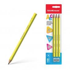 Чернографитный карандаш. ErichKrause. Jumbo ABC. HB. трехгранный. В блистере по 3 шт.+ точилка Jumbo