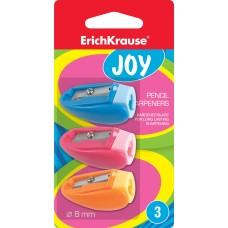 Точилка пластиковая ErichKrause. JOY. цвет корпуса ассорти блистер 3 шт.