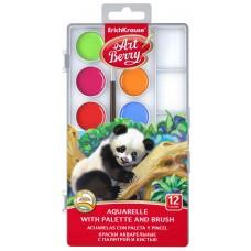 Краски акварельные ArtBerry. С УФ защитой яркости. 12 цветов с палитрой и кистью