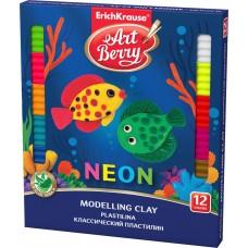 Классический пластилин ArtBerry. С Алоэ Вера. Neon. 12 цветов со стеком. 216г