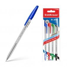 Ручка шариковая. ErichKrause. R-301 Classic Stick. 1,0. Цвет чернил: синий, черный, красный, зеленый. 4 ручки в пакете