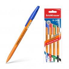 Ручка шариковая. ErichKrause. R-301 Orange Stick. 0,7. Цвет чернил: синий, черный, красный, зеленый. 4 ручки в пакете
