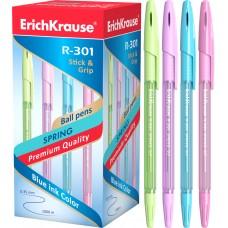 Ручка шариковая ErichKrause. R-301 Spring Stick&Grip 0.7. Синяя