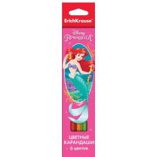 Цветные карандаши шестигранные. ErichKrause. Принцессы Disney. 6 цветов. Королевский бал