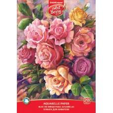 Альбом для акварели на клею. ArtBerry. Розы. А4. 20 листов