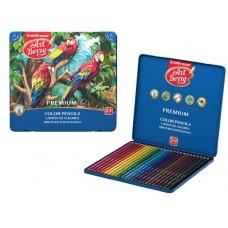 Карандаши цветные шестигранные ArtBerry Premium. 24 цвета. Металлическая коробка