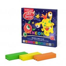 Классический пластилин ArtBerry. С Алоэ Вера. Neon. 12 цветов. Новый дизайн. 180г
