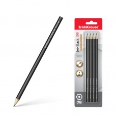 Чернографитный карандаш. ErichKrause. Jet Black 100 HB. Шестигранный. В блистере по 4 шт