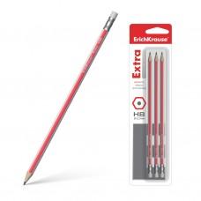 Чернографитный карандаш. ErichKrause. Extra. HB. Шестигранный. С ластиком. 3 шт в блистере
