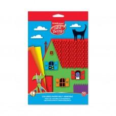 Цветная бумага мелованная самоклеящаяся. ErichKrause. ArtBerry. В5. 10 листов, 10 цветов. Игрушка-набор для детского творчества. В папке с подвесом