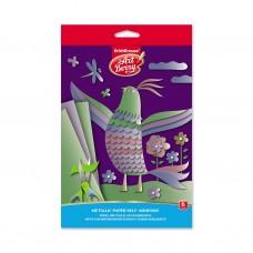 Металлизированная бумага самоклеящаяся. ErichKrause. ArtBerry. В5. 6 листов, 6 цветов. Игрушка-набор для детского творчества. В папке с подвесом