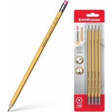 Чернографитный карандаш. ErichKrause. Amber 101. HB. Шестигранный. С ластиком. 4 шт в блистере