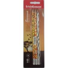Чернографитный карандаш. ErichKrause. Savanna. HB. круглый с ластиком. В блистере по 3 шт